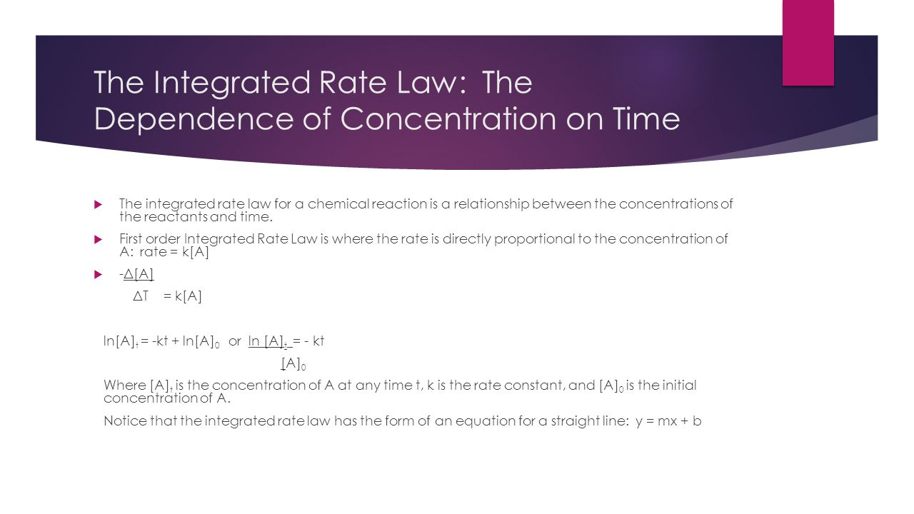 The Integrated Rate Law: The Dependence of Concentration on Time