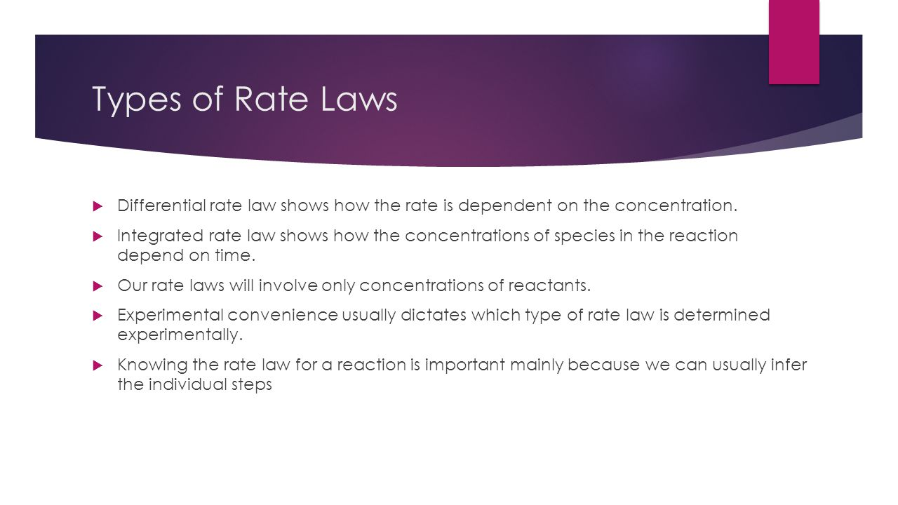 Types of Rate Laws Differential rate law shows how the rate is dependent on the concentration.