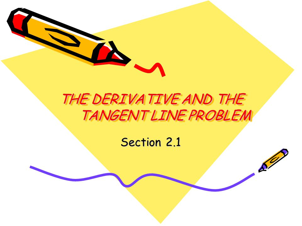 THE DERIVATIVE AND THE TANGENT LINE PROBLEM