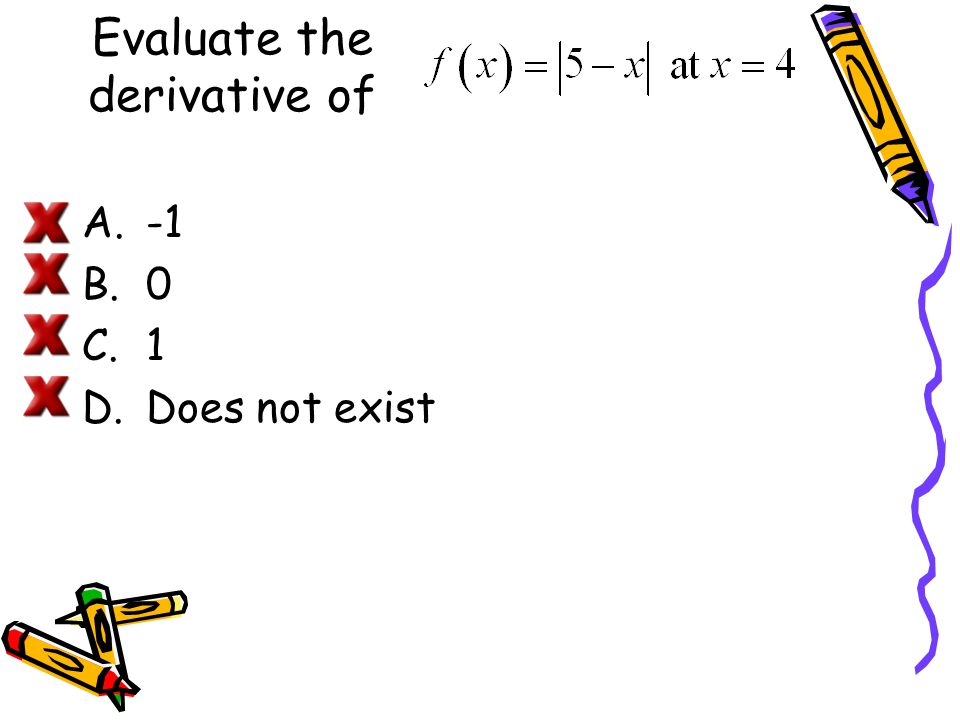 Evaluate the derivative of