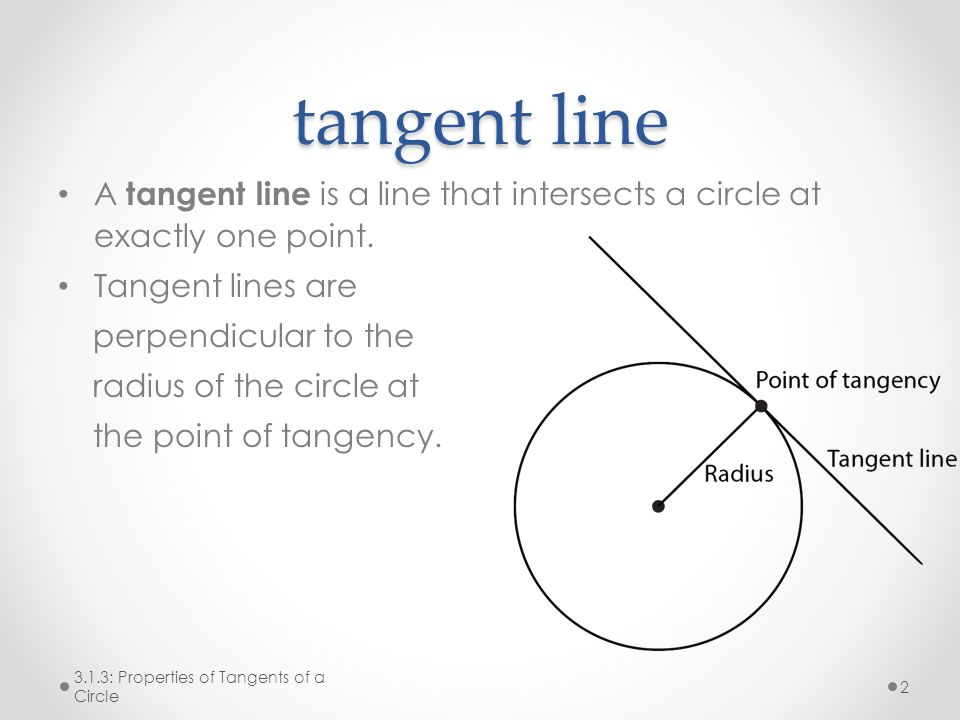 tangent line A tangent line is a line that intersects a circle at exactly one point. Tangent lines are.