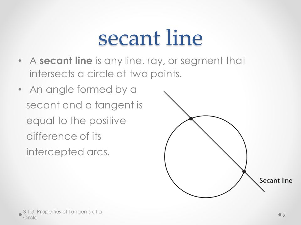 secant line A secant line is any line, ray, or segment that intersects a circle at two points. An angle formed by a.