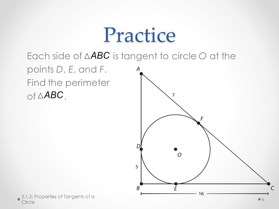 Practice Each side of is tangent to circle O at the points D, E, and F.