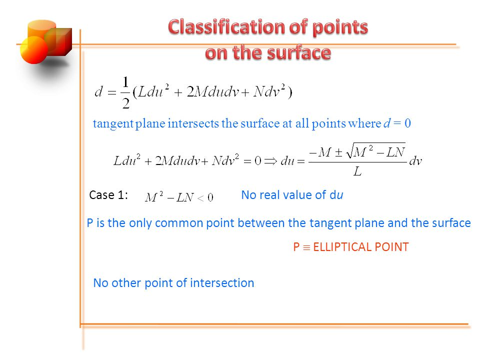 Classification of points on the surface