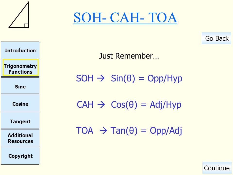 SOH- CAH- TOA SOH  Sin(θ) = Opp/Hyp CAH  Cos(θ) = Adj/Hyp