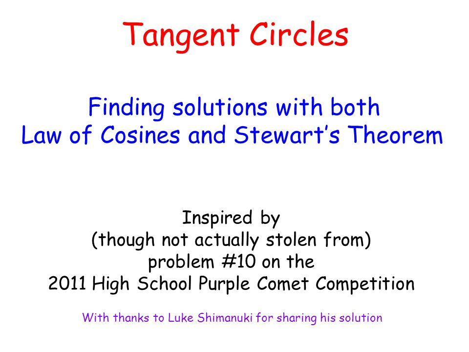 Tangent Circles Finding solutions with both
