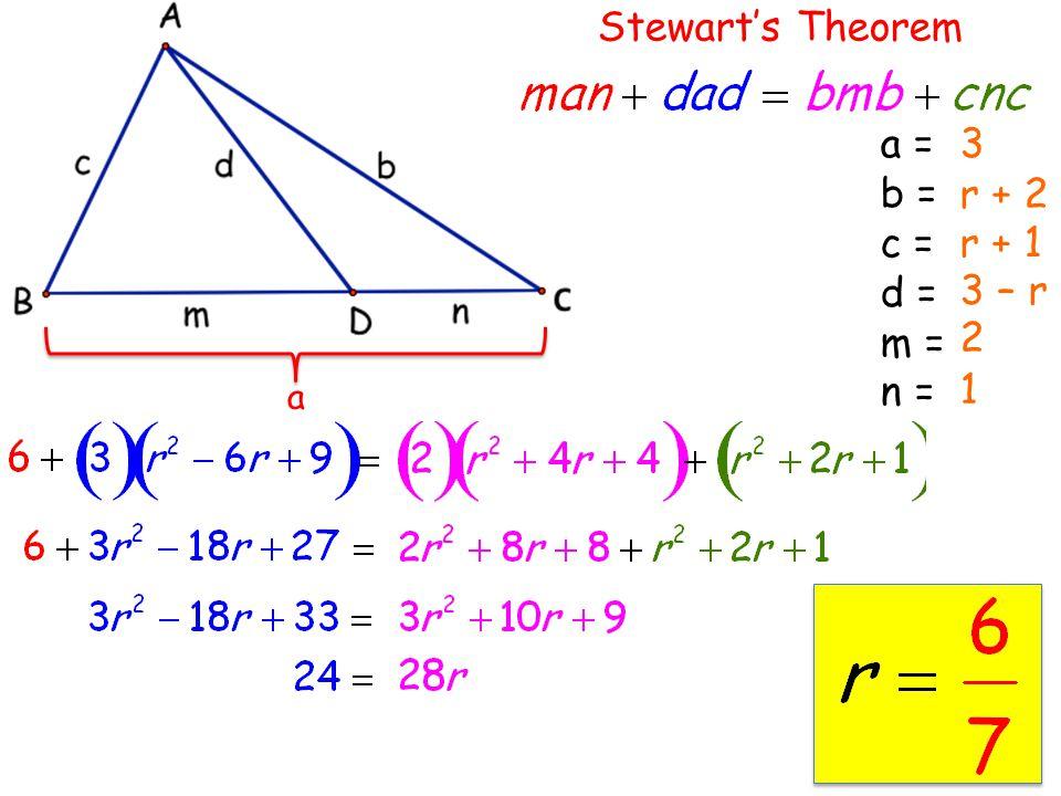 a Stewart's Theorem a = b = c = d = m = n = 3 r + 2 r + 1 3 – r 2 1