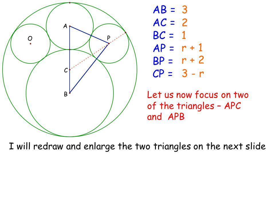 AB = AC = BC = AP = BP = CP = 3 2 1 r + 1 r + 2 3 - r