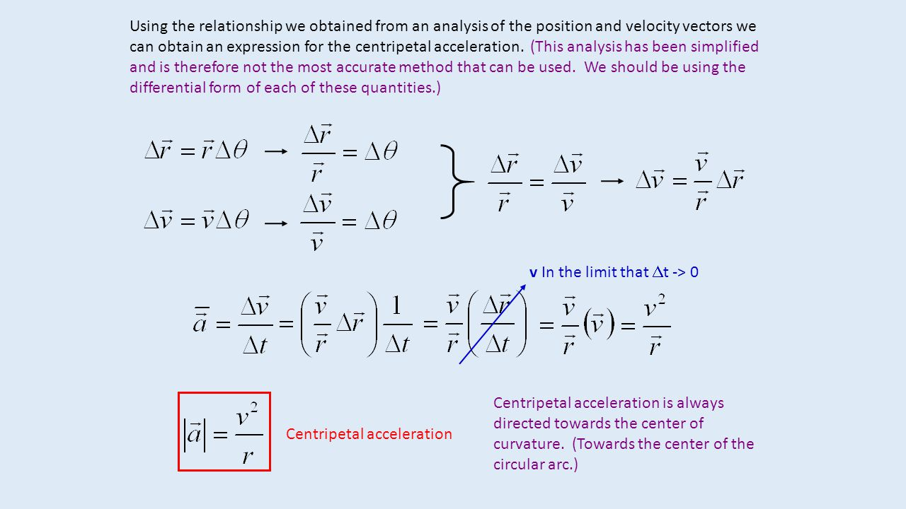 Using the relationship we obtained from an analysis of the position and velocity vectors we can obtain an expression for the centripetal acceleration. (This analysis has been simplified and is therefore not the most accurate method that can be used. We should be using the differential form of each of these quantities.)