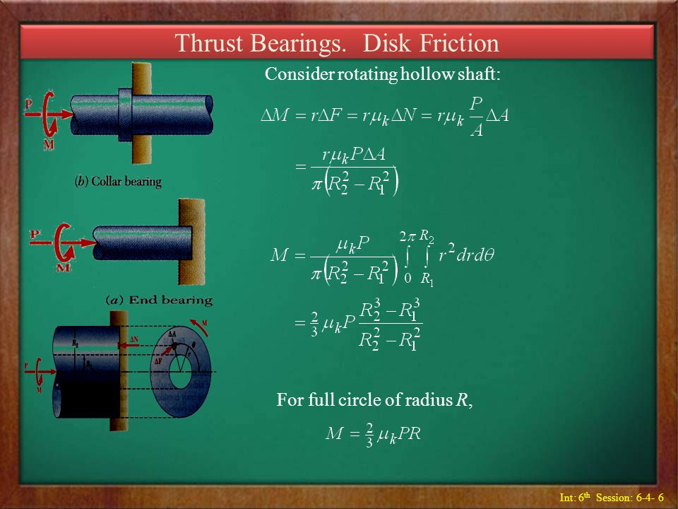 Thrust Bearings. Disk Friction