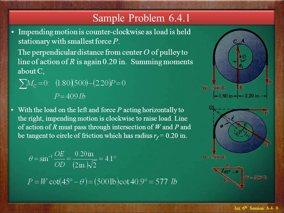 Sample Problem 6.4.1 Impending motion is counter-clockwise as load is held stationary with smallest force P.
