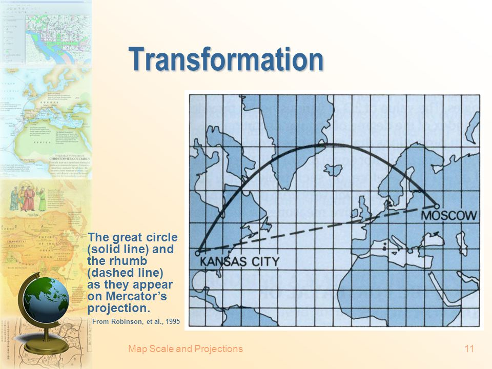 Transformation The great circle (solid line) and the rhumb (dashed line) as they appear on Mercator's projection.