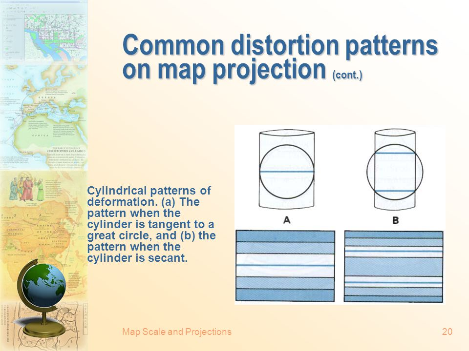 Common distortion patterns on map projection (cont.)