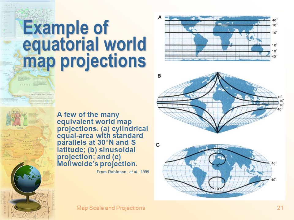 Example of equatorial world map projections