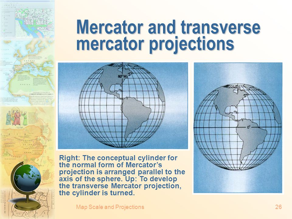 Mercator and transverse mercator projections