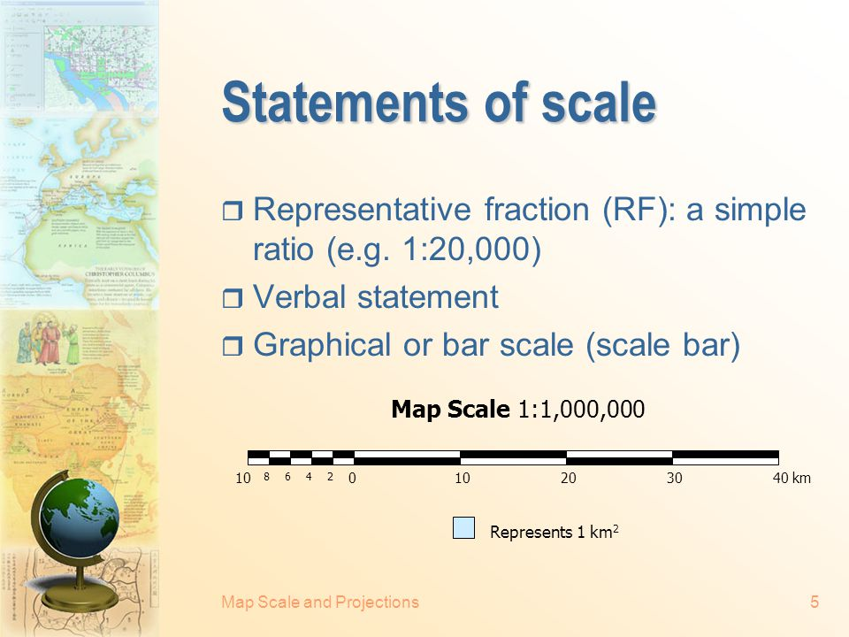 Statements of scale Representative fraction (RF): a simple ratio (e.g. 1:20,000) Verbal statement.