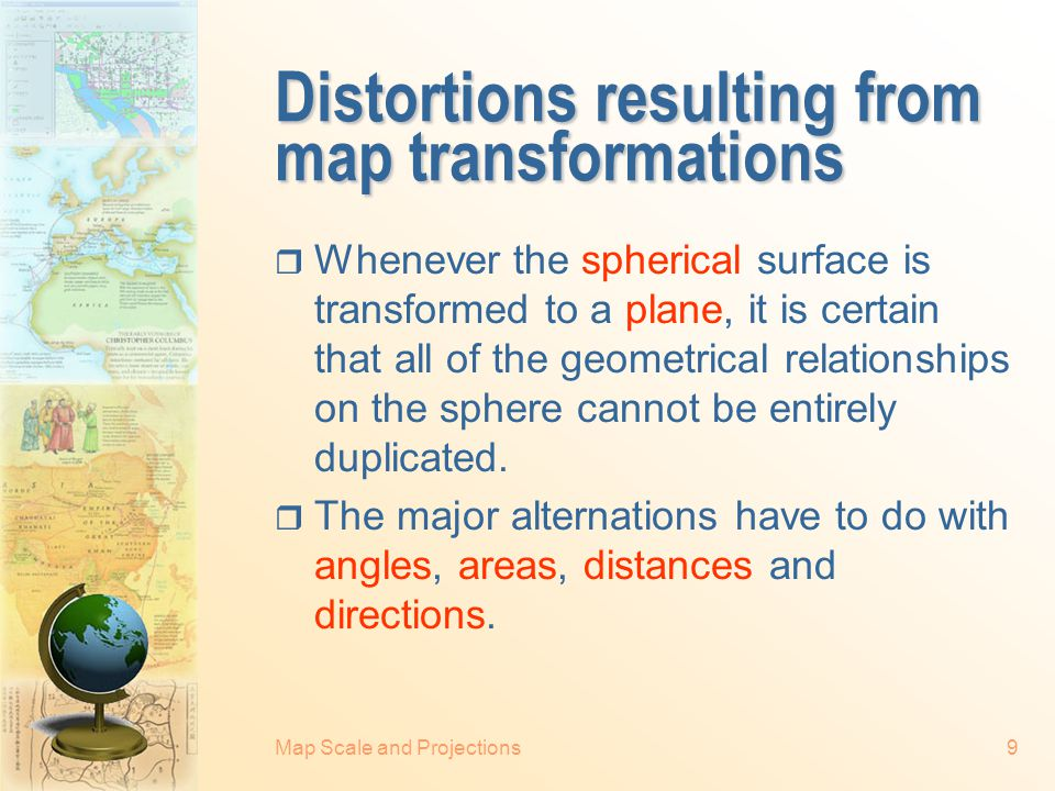 Distortions resulting from map transformations