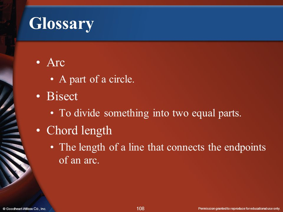 Glossary Arc Bisect Chord length A part of a circle.