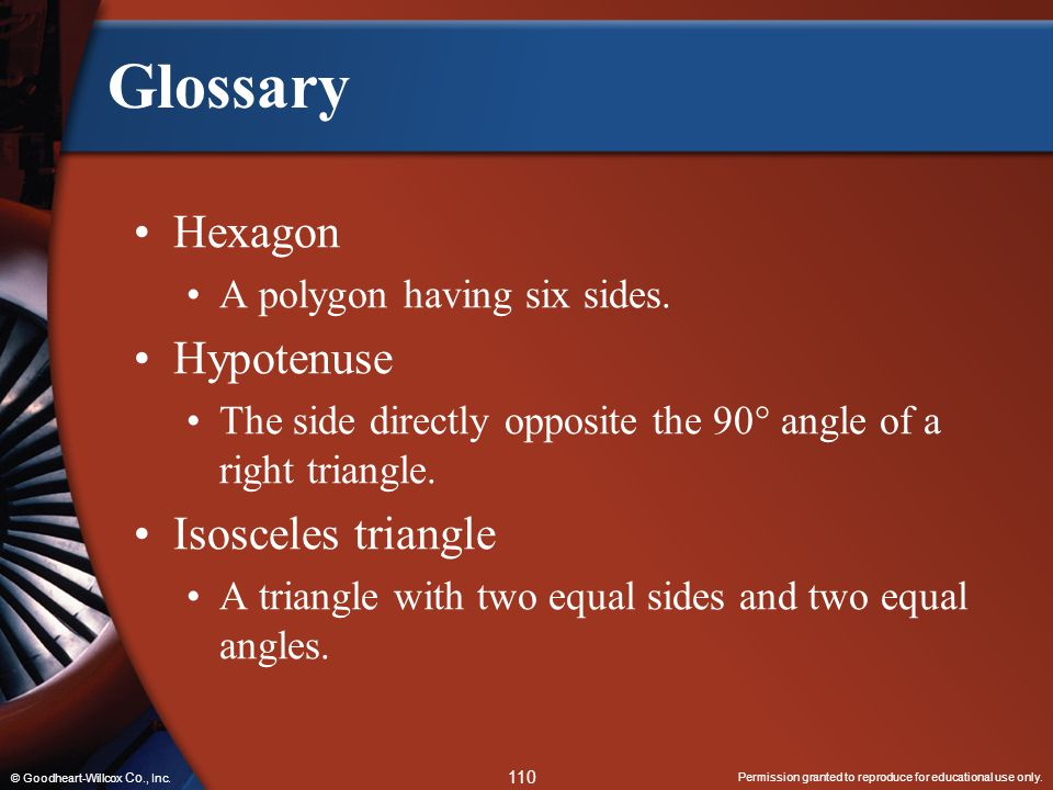 Glossary Hexagon Hypotenuse Isosceles triangle