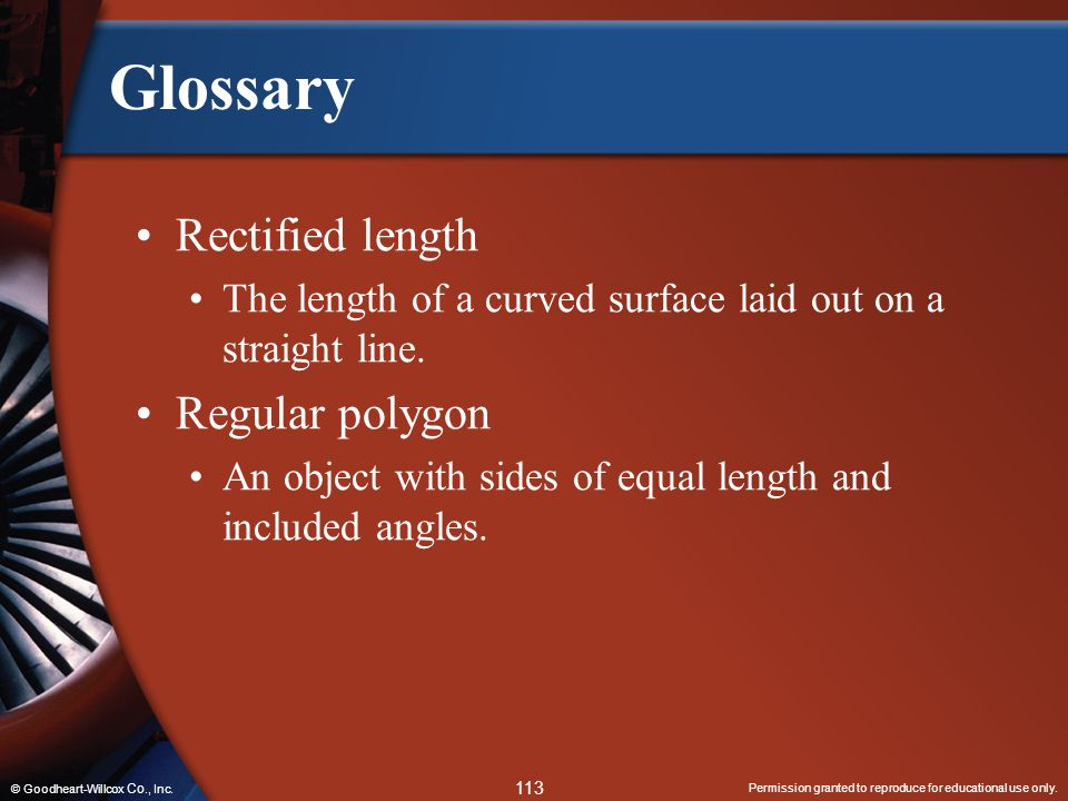 Glossary Rectified length Regular polygon