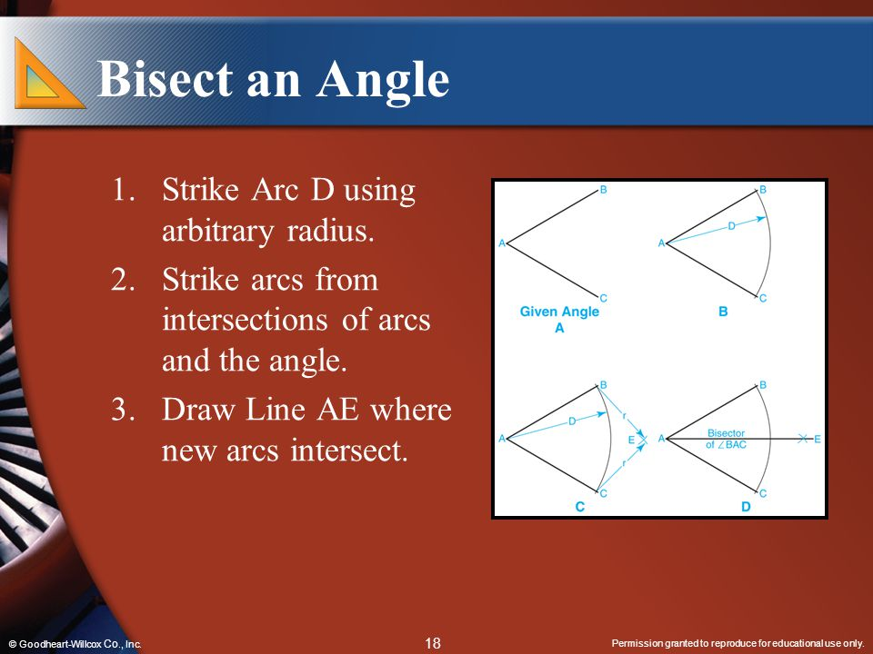 Bisect an Angle Strike Arc D using arbitrary radius.