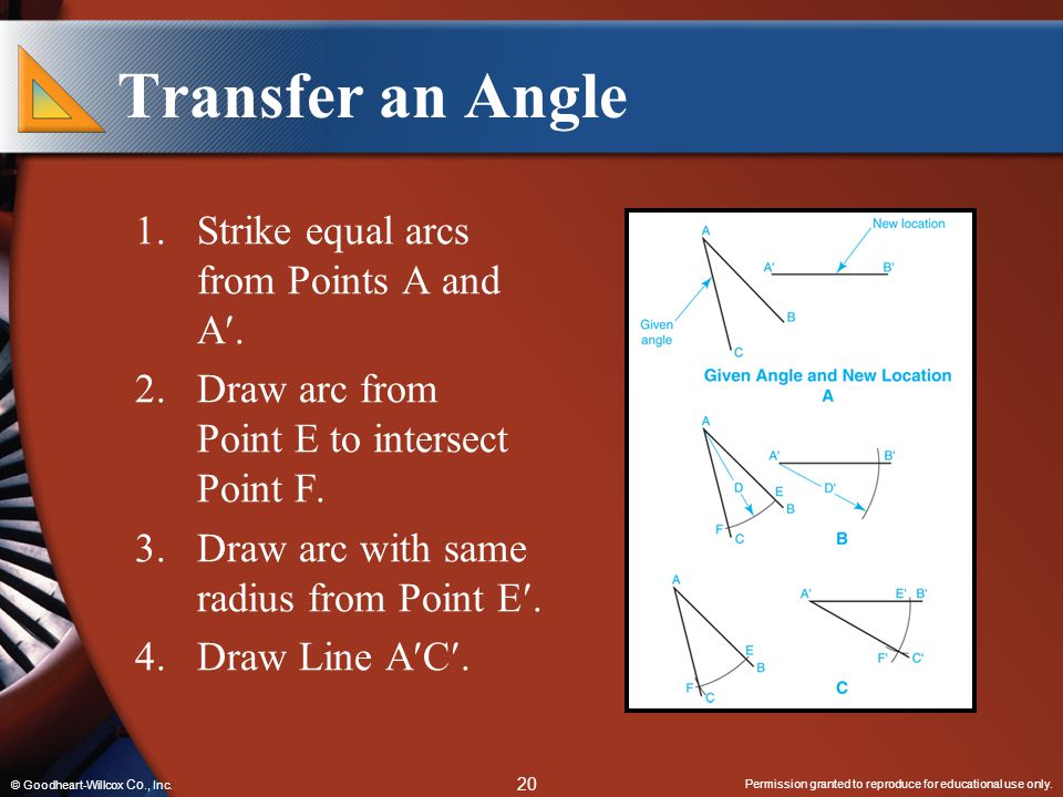 Transfer an Angle Strike equal arcs from Points A and A.