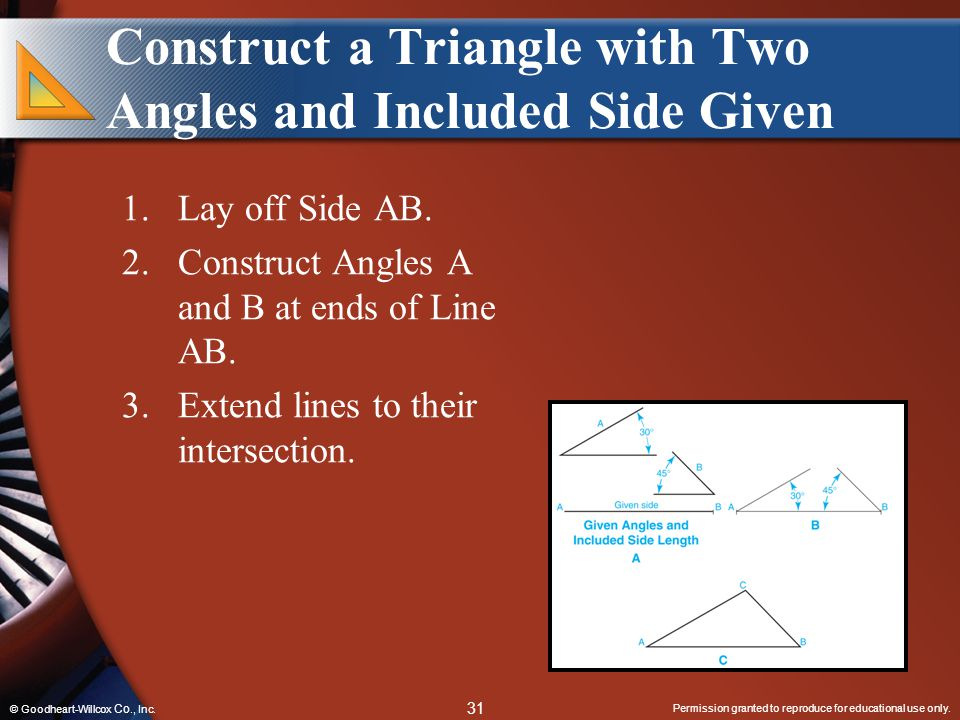 Construct a Triangle with Two Angles and Included Side Given