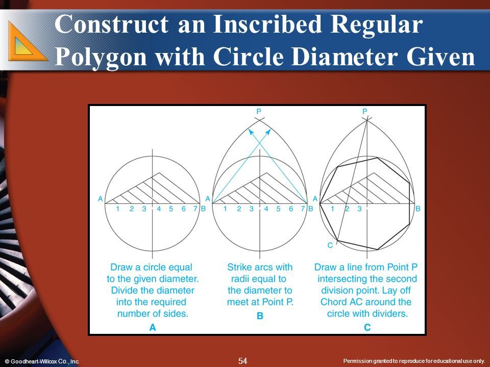 Construct an Inscribed Regular Polygon with Circle Diameter Given