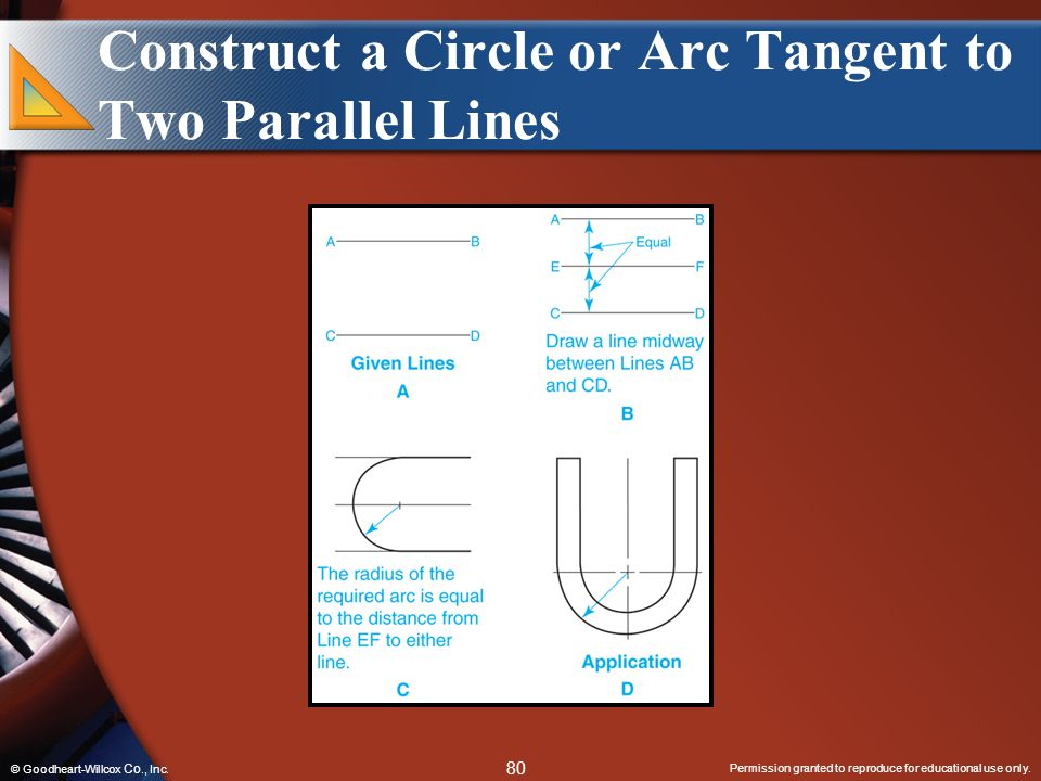 Construct a Circle or Arc Tangent to Two Parallel Lines
