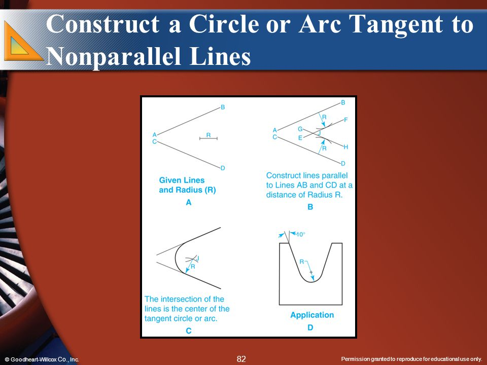 Construct a Circle or Arc Tangent to Nonparallel Lines