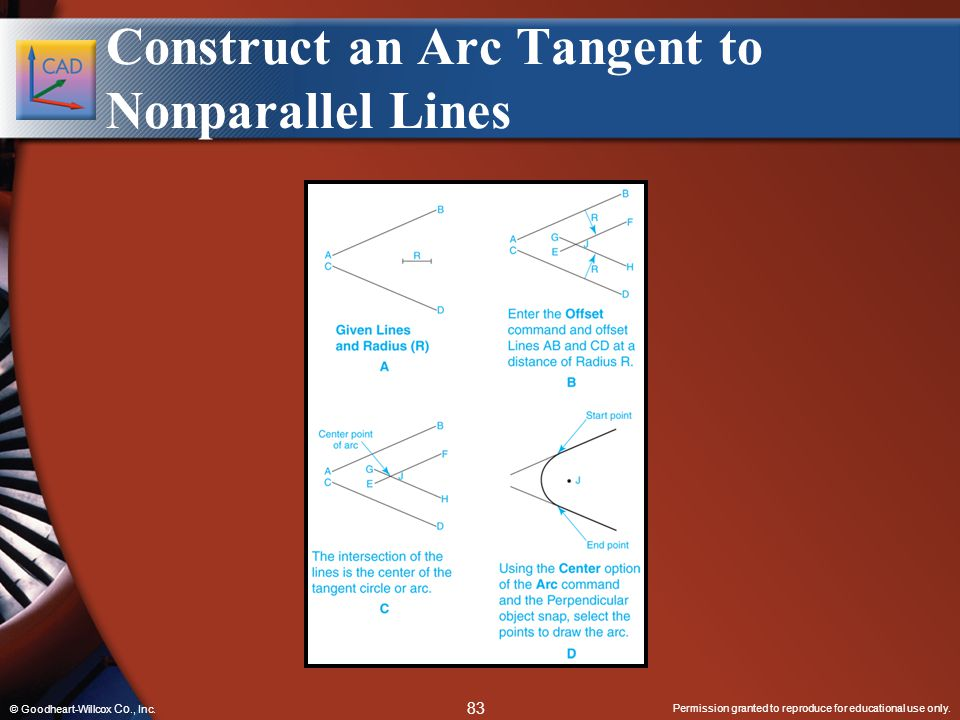 Construct an Arc Tangent to Nonparallel Lines