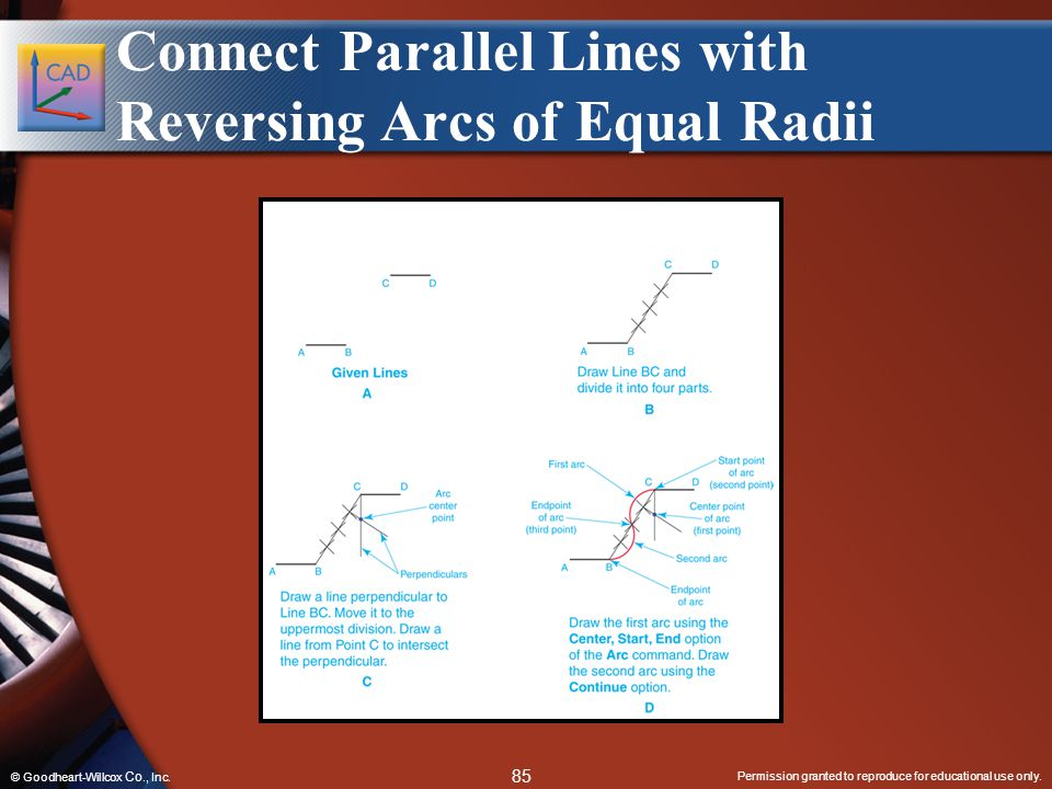 Connect Parallel Lines with Reversing Arcs of Equal Radii