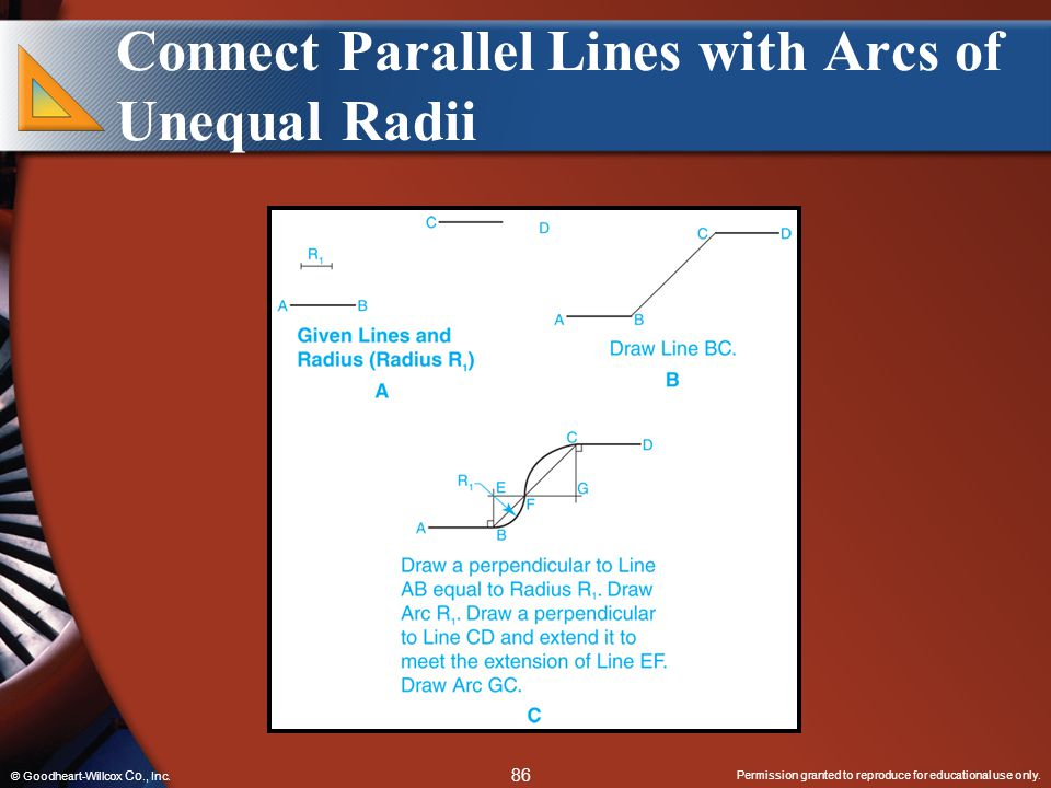 Connect Parallel Lines with Arcs of Unequal Radii