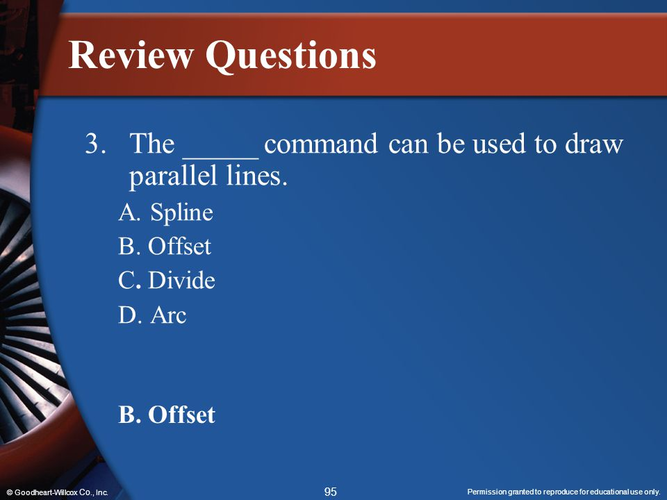 Review Questions The _____ command can be used to draw parallel lines.