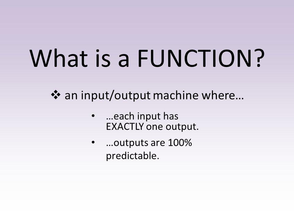 an input/output machine where…