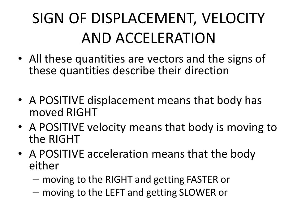 SIGN OF DISPLACEMENT, VELOCITY AND ACCELERATION