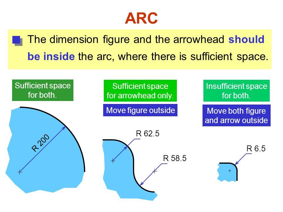 ARC The dimension figure and the arrowhead should