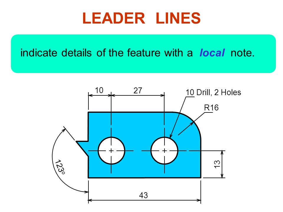 LEADER LINES indicate details of the feature with a local note. 10 27