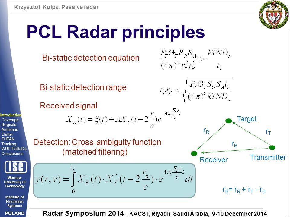 PCL Radar principles Bi-static detection equation