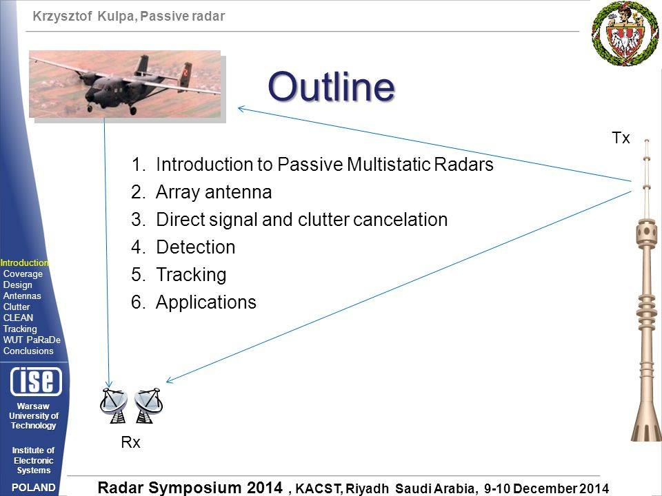 Outline Introduction to Passive Multistatic Radars Array antenna