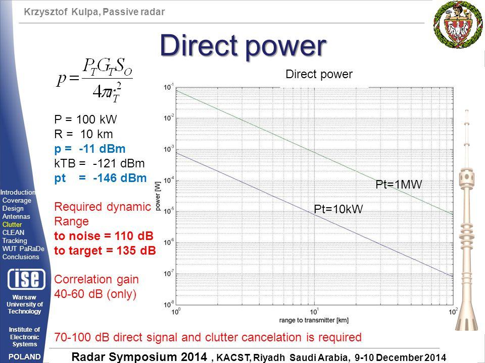 Direct power Direct power P = 100 kW R = 10 km p = -11 dBm