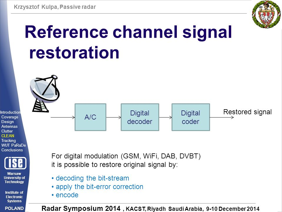 Reference channel signal restoration