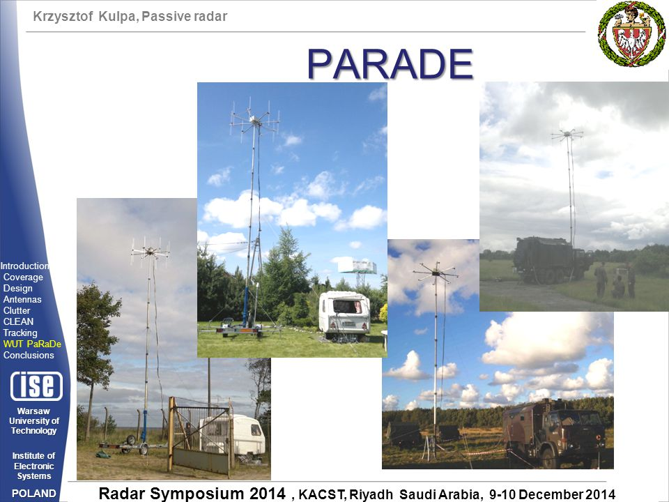 PARADE Introduction Coverage Design Antennas Clutter CLEAN Tracking