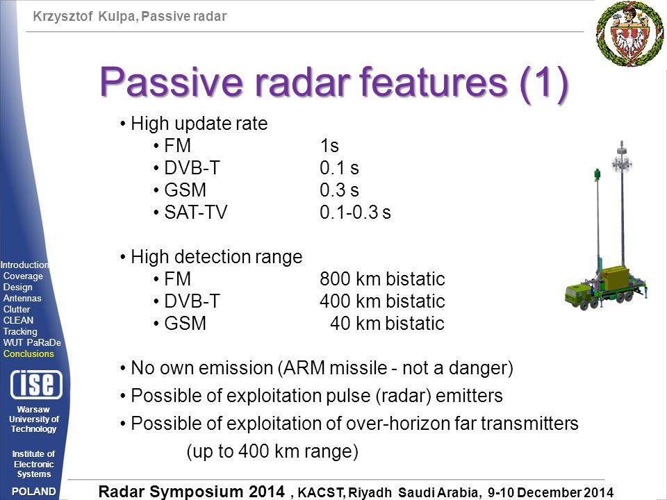 Passive radar features (1)