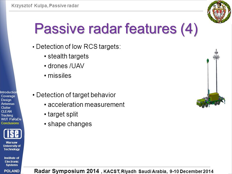Passive radar features (4)