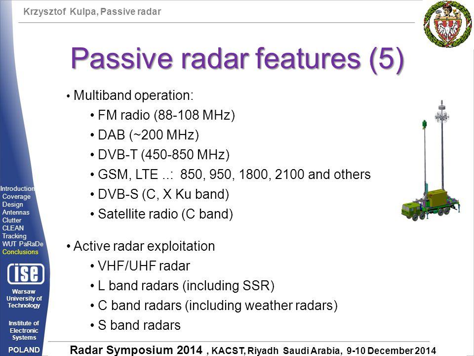 Passive radar features (5)