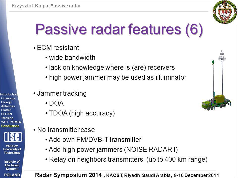 Passive radar features (6)