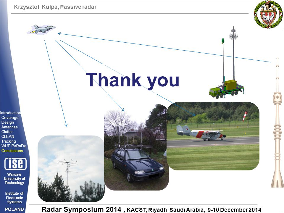 Thank you Introduction Coverage Design Antennas Clutter CLEAN Tracking