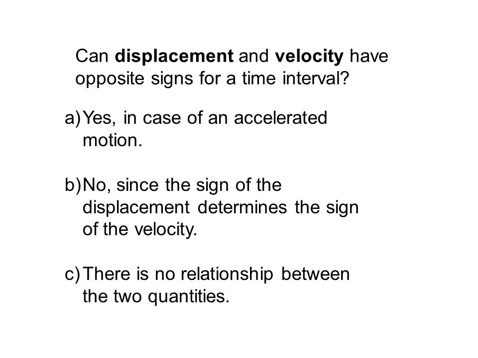 Can displacement and velocity have opposite signs for a time interval