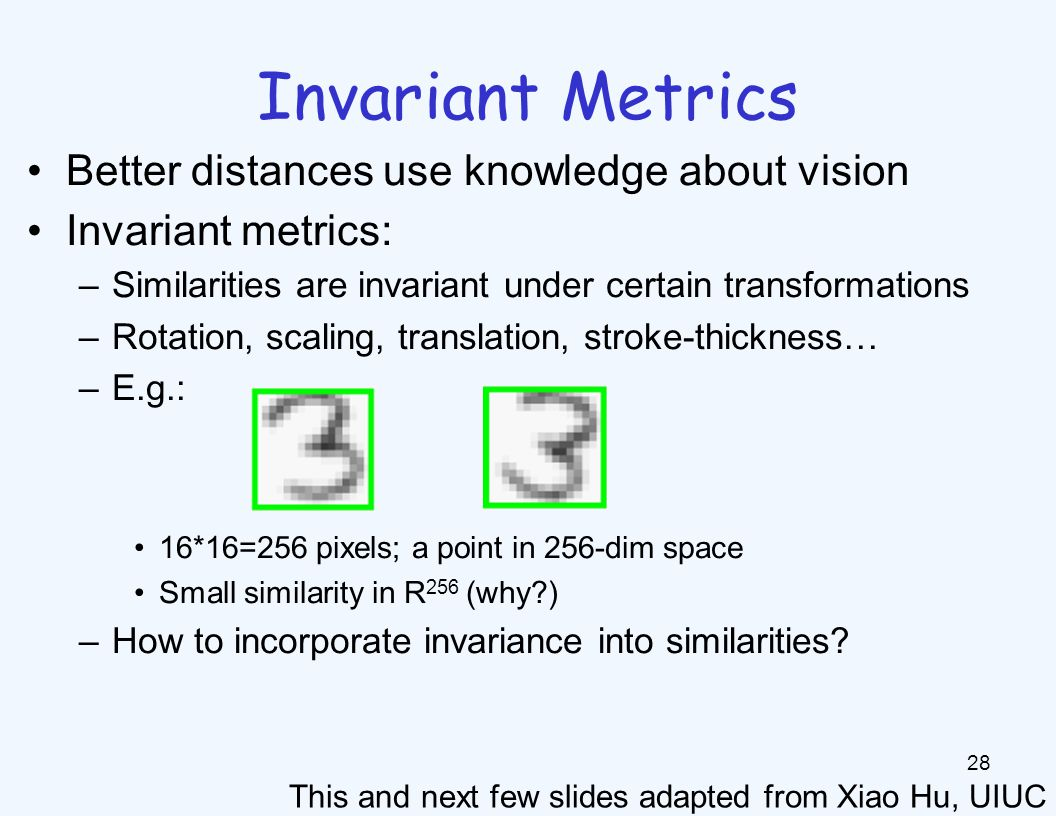 Invariant Metrics Each example is now a curve in R256